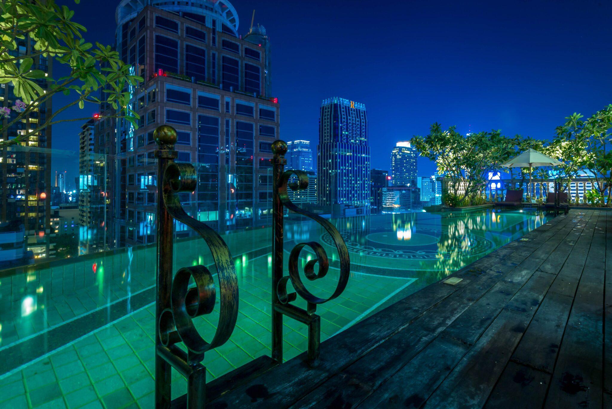 Hotel Muse Pool Looking Over Bangkok Skyline